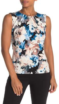 Calvin Klein Sleeveless Pleat Neck Blouse