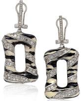 Suzy Levian Cubic Zirconia Sterling Silver Zebra Print Oval Dangle Earrings