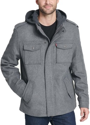 Levi's Men's Wool-Blend Hooded Military Jacket