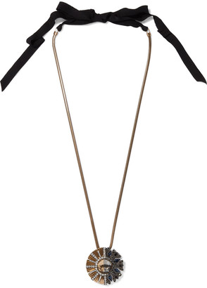 Lanvin Gold-tone, Gunmetal-tone, Grosgrain And Crystal Necklace