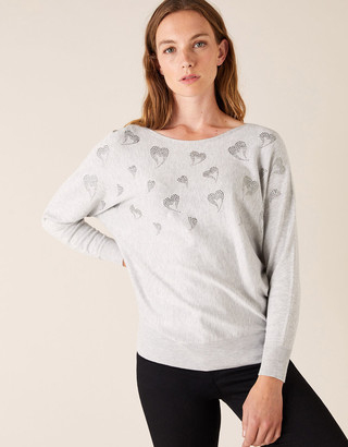 Under Armour Heart Hotfix Gem Jumper with Sustainable Viscose Grey