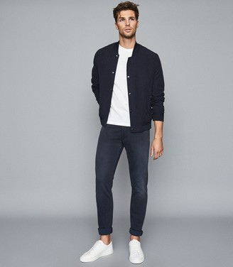 Reiss Viscount - Jersey Stretch Tapered Slim Fit Jeans in Mid Blue