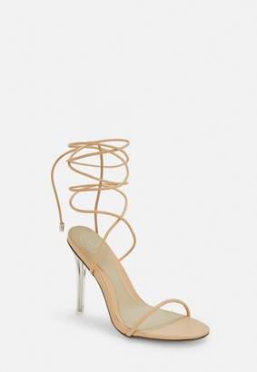 Missguided Nude Skinny Strap Wrap Sandal Heels
