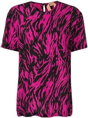 No.21 zebra patterned T-shirt