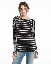 White House Black Market Black & White Long-Sleeve Stripe Tunic