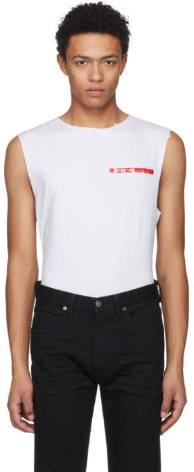 Helmut Lang White Shayne Oliver Raw Edge Muscle T-Shirt