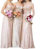 D.W.U Sequin Pleated Corset Maxi Bridesmaid Prom Gowns Formal Party Dresses