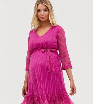 Mama Licious Mama.Licious Mamalicious tiered midi dress-Pink