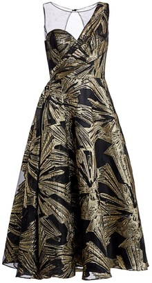 Theia Brocade Fit-&-Flare Cocktail Dress