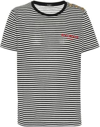 Balmain Striped cotton-jersey T-shirt