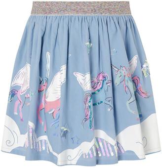 Monsoon Sequin Cloud Unicorn Skirt Blue