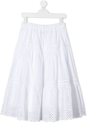 Alberta Ferretti Kids Broderie Anglaise Maxi Skirt