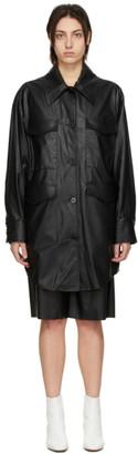 MM6 MAISON MARGIELA Black Faux-Leather Oversized Jacket