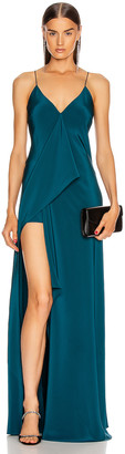 Cushnie Deep V Sleeveless Maxi Dress in Dark Teal | FWRD