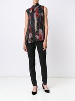 Jason Wu Printed Chiffon Sleeveless Blouse With Neck Tie