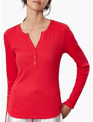 Joules Cici Ribbed Jersey Pyjama Top, Red