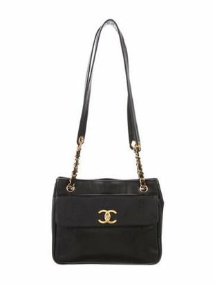 Chanel Vintage Caviar CC Tote Black