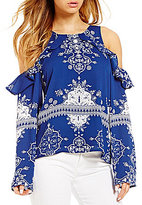 Lovers + Friends Sun Seeker Ruffled Cold-Shoulder Top