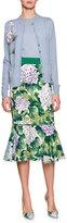 Dolce & Gabbana Flounce-Hem Hydrangea Mermaid Skirt, Green