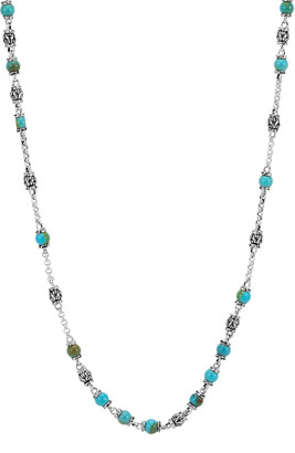 John Hardy Men's Classic Chain Silver & Turquoise Bead Necklace, Blue/Black