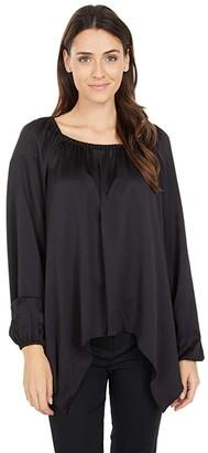 MICHAEL Michael Kors Satin Hank Hem Top (Black) Women's Clothing
