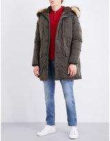 Armani Jeans Khaki Faux-fur Trim Shell-down Parka Coat