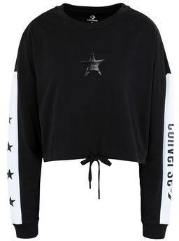 Converse X MILEY CYRUS LONG SLEEVE BOXY CROP TOP BLACK T-shirt