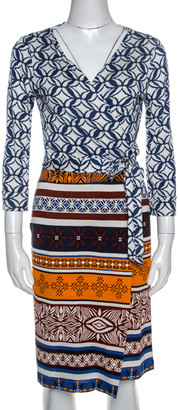 Diane von Furstenberg Multicolor Printed New Julian Two Desert Band Wrap Dress M
