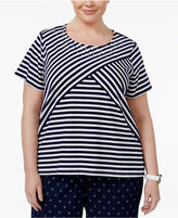 Alfred Dunner Plus Size Lady Liberty Collection Multi-Stripe Top