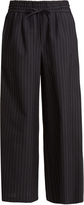 Muveil Wide-leg striped wool-blend cropped trousers