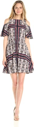 Maggy London Women's Printed Mj Cold Shoulder Blousin