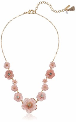 lonna & lilly Women's Gold and Pink Flower Frontal Necklace One Size