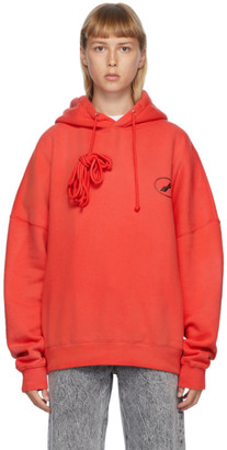 we11done Red Iridescent Logo Hoodie