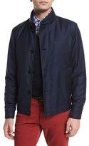 Ermenegildo Zegna Wool Button-Down Blouson Jacket, Navy