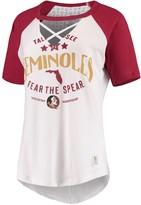 Unbranded Women's Pressbox White/Garnet Florida State Seminoles Abbie Criss-Cross Raglan Choker T-Shirt