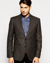 Asos Slim Blazer In Tweed