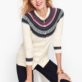 Talbots Fair Isle Trim Cardigan Sweater