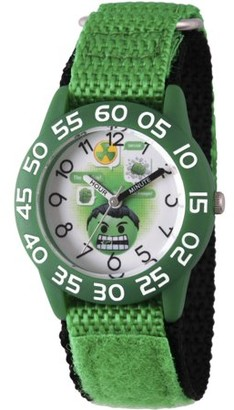 Marvel Emoji Kids' Hulk Green Plastic Time Teacher Watch, Green Hook and Loop Nylon Strap with Black Backing