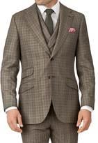 Tan Slim Fit British Check Flannel Luxury Suit Jacket
