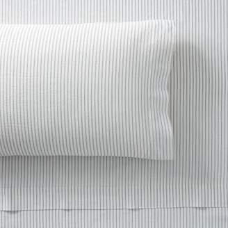 Pottery Barn Teen Classic Stripe Organic Sheet Set, Queen, Ivory/Steel