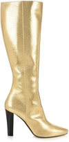 Saint Laurent Lily python-effect leather knee boots
