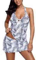 MuCoo Women's Plus Size Leaves Print Two Pieces Tankini Set Swimwear Swimsuits White XXL