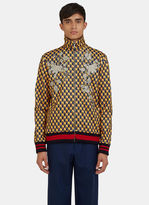 Gucci Men's Embroidered Geometric Print Teddy Bomber Jacket In Yellow And Navy