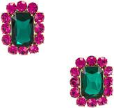 Ninon Square Crystal Earrings in Fuchsia & Emerald | FWRD
