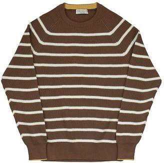 Brunello Cucinelli Striped Cotton English Rib Knit Sweater