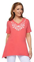 Denim & Co. As Is Embroidered Short Sleeve Trapeze Hem Knit Top