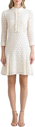 Shoshanna Brook Ruffle-Bib Stretch Lace Dress