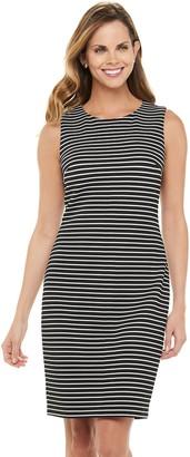 Chaps Women's Striped Sleeveless Sheath Dress