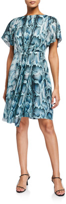 Elie Tahari Dia Snake-Print Flutter-Sleeve Silk Dress