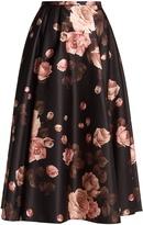 Rochas Rose-print satin midi skirt